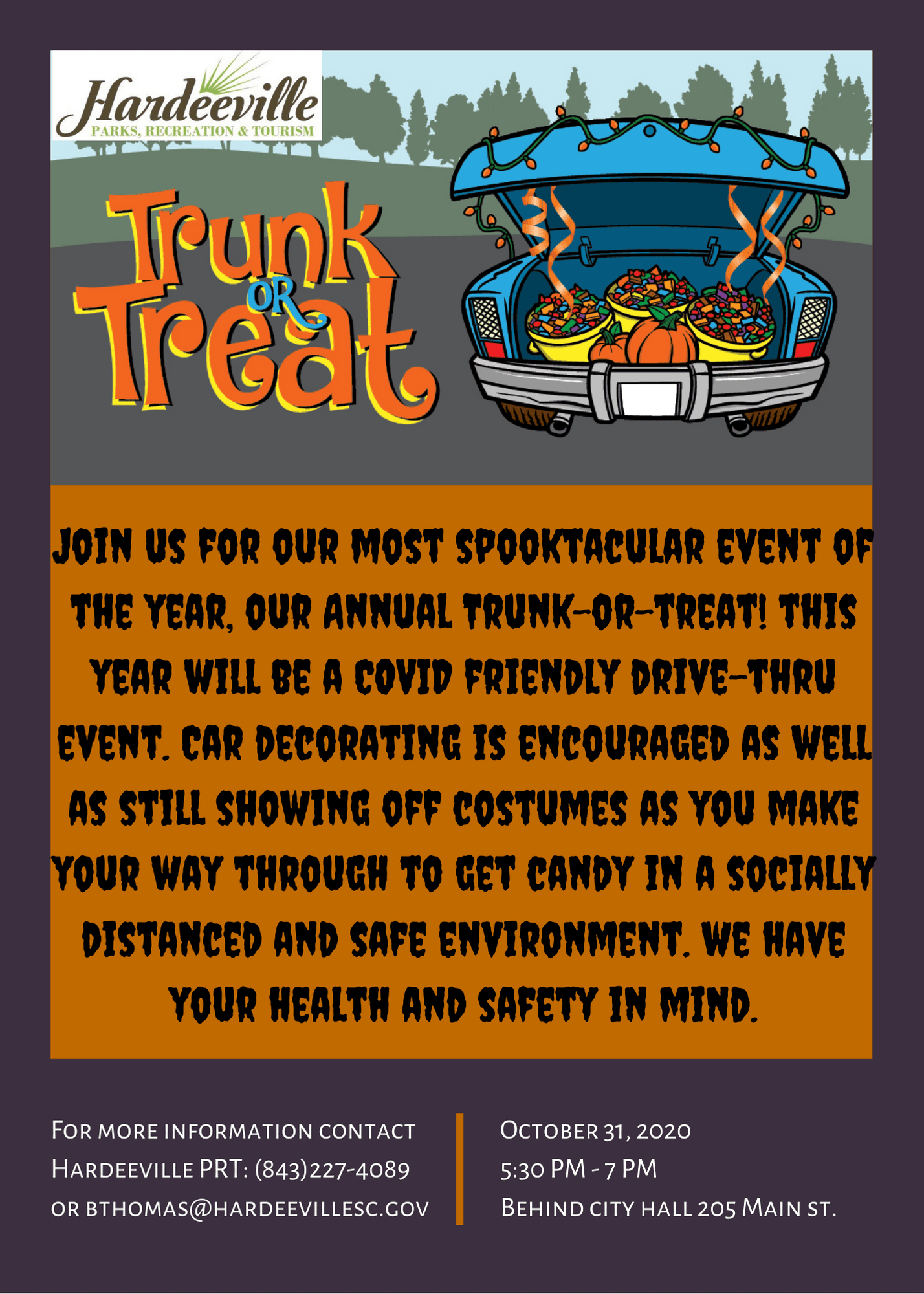 Drive-Thru Trunk-or-Treat is Saturday, October 31st from 5:30 PM to 7 PM