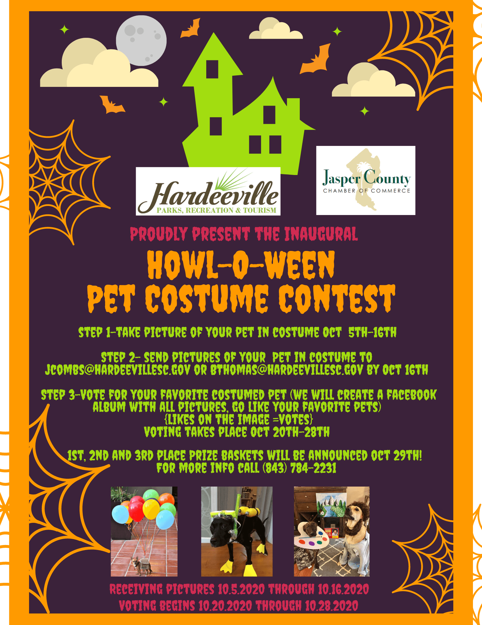 Howl-o-ween Pet Costume Contest Flyer and how to enter the contest.